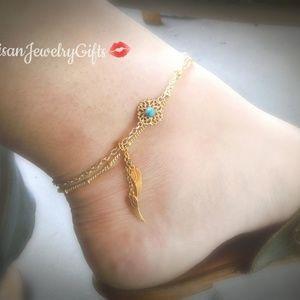 Tiny Dream Catcher Anklet Turquoise Boho Anklet